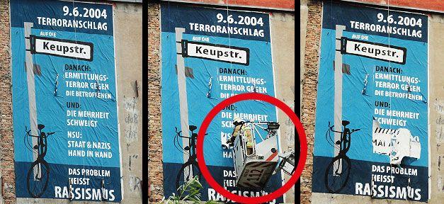 Polizei zensiert NSU Plakat wegen Verunglimpfung des Staates