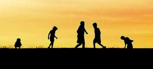 Kinder, Jugendliche, Spielen, Silhouette, Schatten