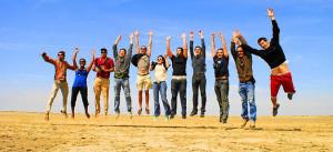 Menschen, Jugendliche, Hurra, Freude, Sprung, Springen