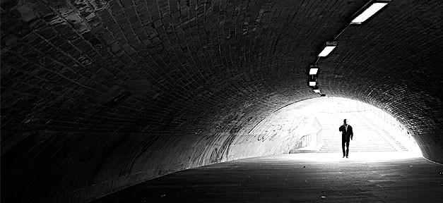 Mann, Tunnel, Licht, Ende, Telefon, Ende, Anfang