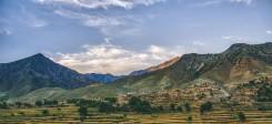 Afghanistan, Land, Berge, Tal, Himmel, Wolken; Panorama