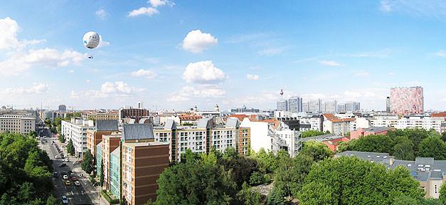 Berlin, Panorama, Fernsehturm, Heißluftballon, Stadt