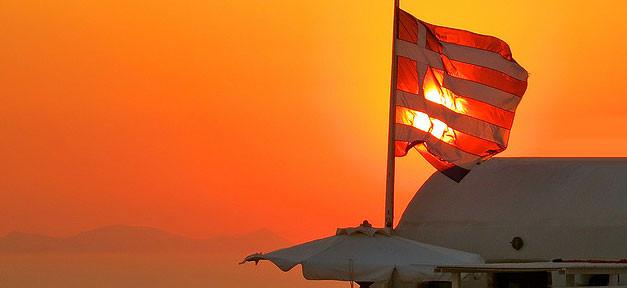 Griechenland, Grecce, Griechen, Flagge, Fahne, Sonnenuntergang