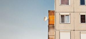 Haus, Wohnung, Satellitenschüssel, Parabolantenne