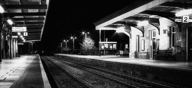 Bahnhof, Nacht, Gleis, Zug, Bahn