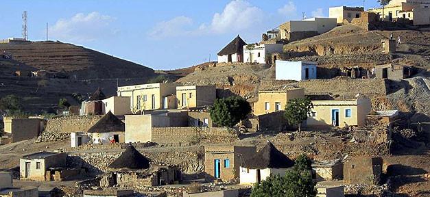 Eritrea, Dorf, Häuser, Arm, Armut, Afrika