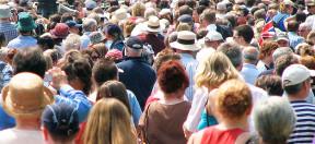 Menschen, Volk, Straße, Laufen, Menge