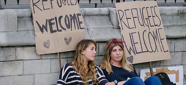 Refugees welcome, Flüchtlinge willkommen, Demonstration, Asyl