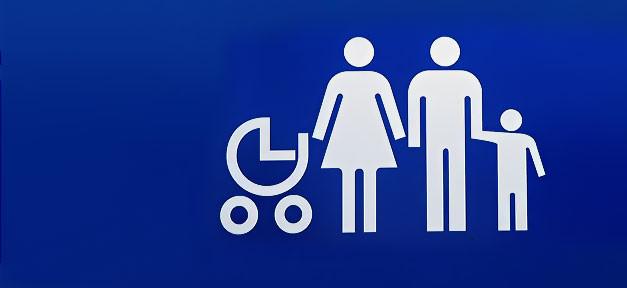 Familie, Familienzusammenführung, Eltern, Kinder, Schild