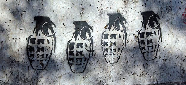Handgranate, Waffe, Bombe, Krieg, Graffiti