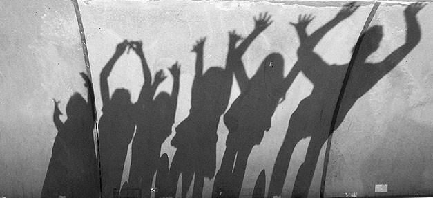 Familie, Freude, Schatten, Hände, Jubel