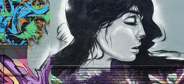 Frau, Graffiti, Wand, Traurig