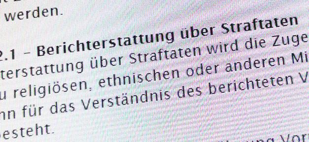 Pressecodex, Richtlinie, Diskriminierung, Minderheiten, Presse