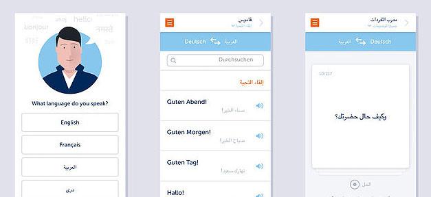 Sprachlern-App, Flüchtlinge, app, Sprache