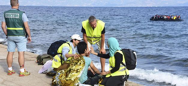 arzt, doctor, flüchtlinge, meer, boot, gesundheit