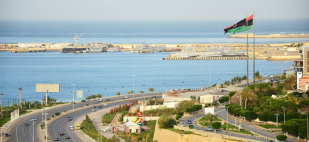 Libyen, Meer, Flagge, Fahne, Küste
