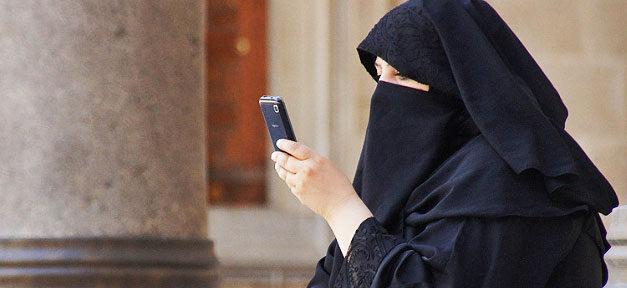 Burka, Ganzkörperschleier, Handy, Frau, Muslimin
