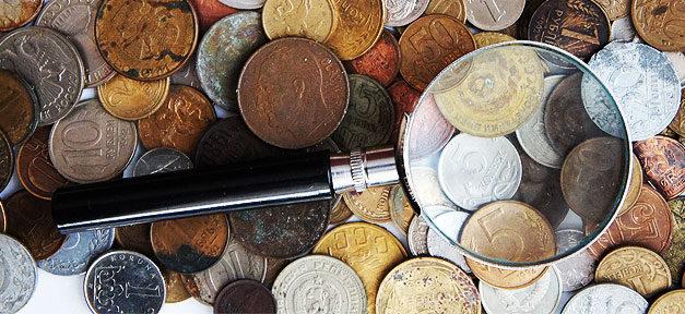 Münze, Sammlung, Lupe, Münzsammlung