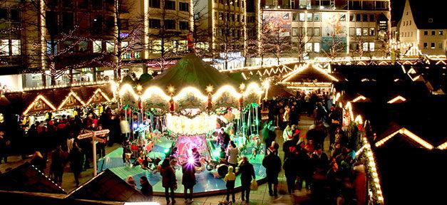 Weihnachtsmarkt, Karussell, Winter, Weihnachten, Kinder, Nacht