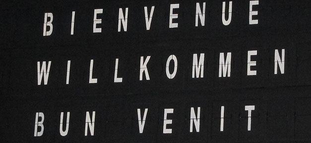 Willkommen, Welcome, Flughafen, Schild, Bienvenue, Bun Venit
