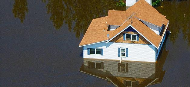 Unwetter, Klimawandel, Naturkatastrophe, Haus, Überschwemmung, Hochwasser
