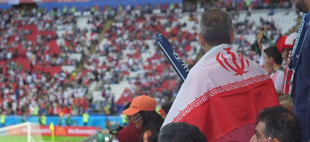 Iran, Fussball, Stadion, Fan, Fahne, Weltmeisterschaft, Russland