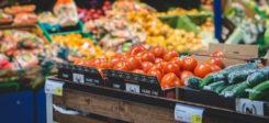 Obst, Gemüse, Supermarkt, Regal, Lebensmittel, Einkaufen, Tomaten, Gurken