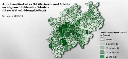 Anteil ausländischer Schüler an allgemeinbildenden Schulen in Nordrhein-Westfalen - Grafik IT.NRW, bearb. MiG