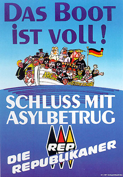 """Das Boot ist voll! - Schluss mit Asylbetrug - Plakat der """"Die Republikaner"""""""