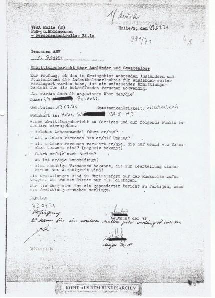 Ausländerakte von politischen Emigranten. Akte DO 1/9.0/502005 Bundesarchiv © Budde