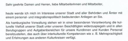 """Die Stadt Hamburg möchte wissen, wie viele Mitarbeiter einen """"Migrationshintergrund"""" haben."""
