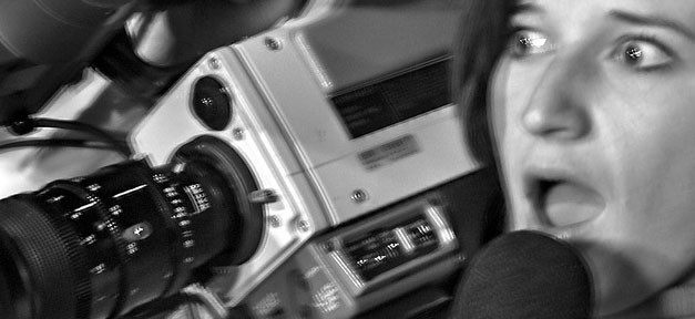 journalist, kamera, film, presse, angst