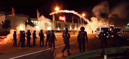 Demonstration, Gewalt, Ausschreitung, Polizei, Nacht, Straße