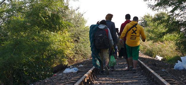 Flüchtlinge, Ungarn, Gleis, Bahn, Asyl, Asylbewerber, fleuchtlinge