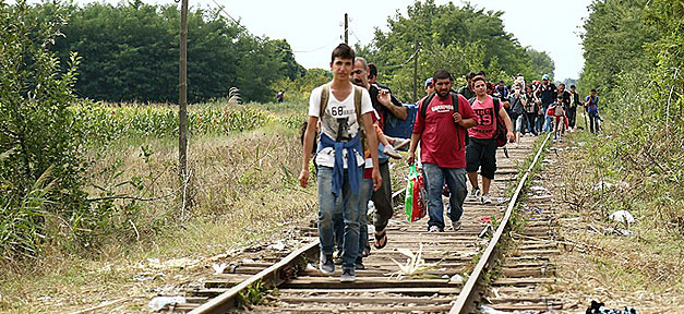 Flüchtlinge, Ungarn, Gleis, Bahn, Asyl, Asylbewerber