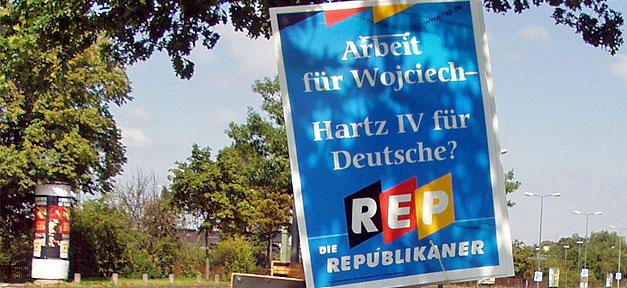 Republikaner, Wahlplakat, REP, Plakat, Ausländerfeindlichkeit