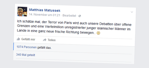Matthias Matussek, Smiley, Facebook, Flüchtlinge