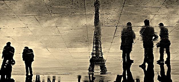 Paris, Eifelturm, Regen, Menschen, Reflektion, Straße, Boden