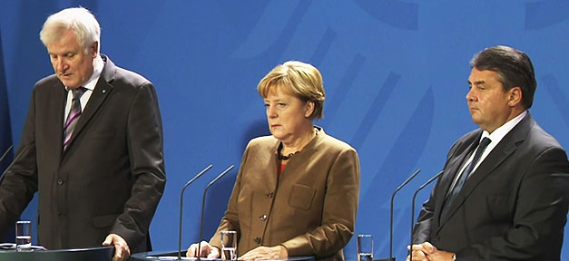 Horst Seehofer, Angela Merkel, Sigmar Gabriel, Pressekonferenz, Flüchtlingspolitik