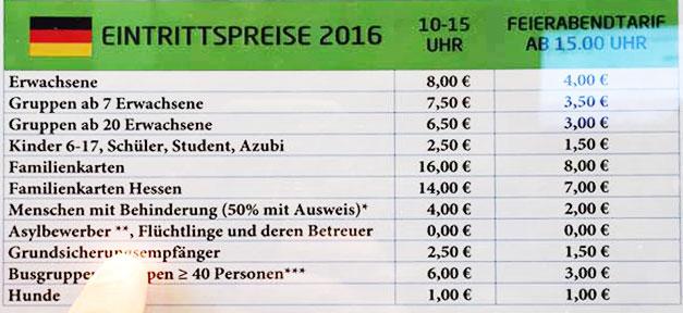 Eintrittspreis, Preisliste, Hessenpark, Freilichtmuseum