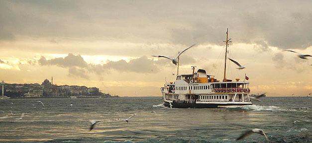 Istanbul, Türkei, Meer, Schiff, Möven
