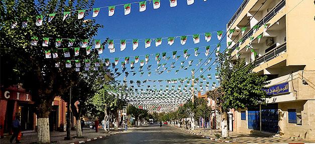 Algerien, Straße, Fahne, Flagge, Afrika
