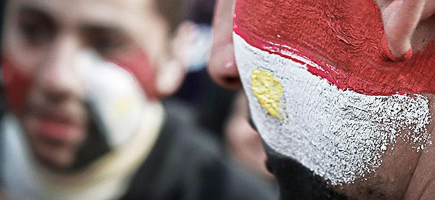 Ägypten, Fahne, Jugendliche, Demonstration, Arabischer Frühling
