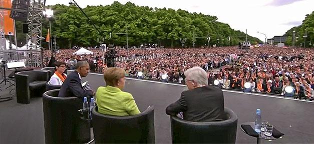 Barack Obama, Angela Merkel, Kirchentag, Berlin, Podium