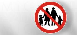 Familie, Verboten, Familienzusammenführung, Verbot, Schild