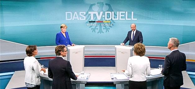 Martin Schulz, Angela Merkel, TV-Duell, Bundestagswahl, Fernsehen
