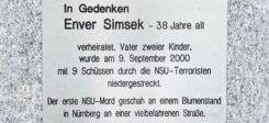 Enver Simsek, NSU, Zwickau, Gedenktafel