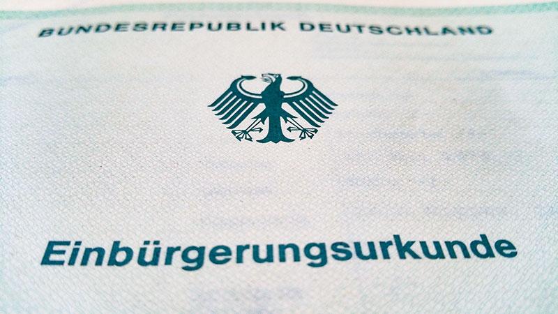Einbürgerungsurkunde, Einbürgerung, Bundesrepublik Deutschland