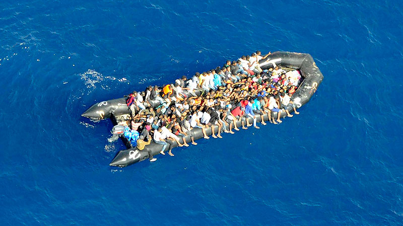 Flüchtlinge, Mittelmeer, Schlauchboot, Rettung, Flucht, Migration