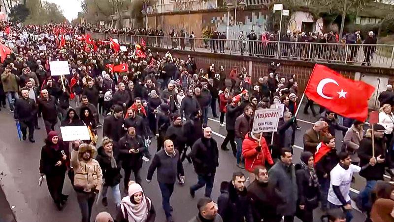 Demonstration, Türkei, Türken, Fahnen, Flagge, Menschen, Protest